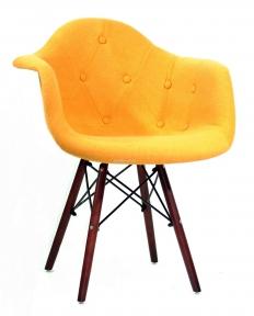 Кресло Leon (Леон) Soft W Шерсть (желтый, синий, зеленый, бирюза, серый) ножки деревянные цвет орех