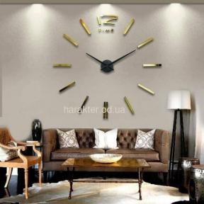 Часы настенные 3D ZH210 (черный, золото, серебро) ат