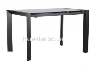 Стол обеденный раскладной Санторини черный/стекло антрацит амф
