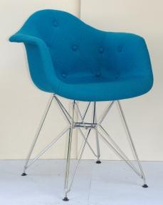 Кресло Leon (Леон) Soft Chrom ML Шерсть на металлических ножках (синий, бирюза, коричневый, зеленый) ом
