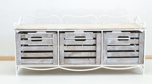 Этажерка на 3 ящика горизонтальная, кованая. Подставка под ТВ. Тумба для обуви.