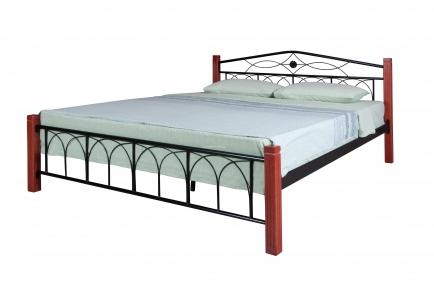 кровать двуспальная металлическая Элизабет ножки дерево кмм
