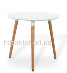 Стол обеденный Нолас, дерево, бук, диаметр 80 см, столешница цвет белый