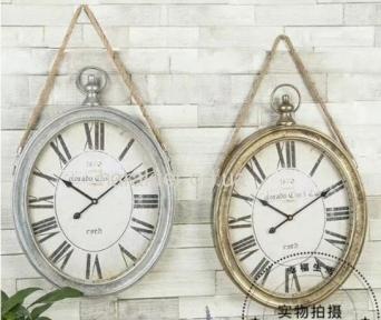 Годинник Овал з канатом Золото, Срібло, Чорний 3678 фд