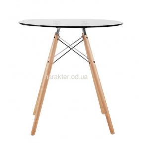Стол обеденный Имз, стеклянный, ножки дерево, диаметр 80 см