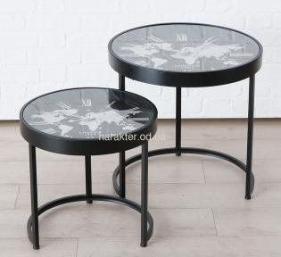 Журнальный, кофейный стол Мондо с часами, комплект 2 шт., металл D43, D53 ГП1019953