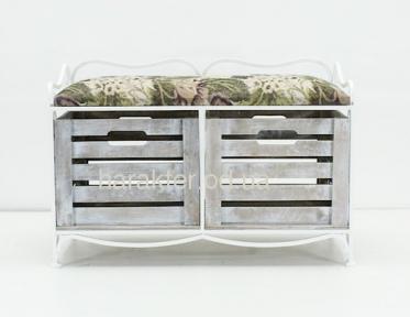 Этажерка кованная на 2 ящика мягкий верх, Диван (этажерка) с двумя ящиками