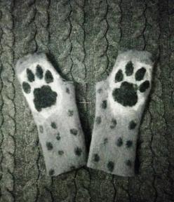 Митенки, перчатки без пальцев Лапки Рысь, хищный принт хенд-мейд Серый