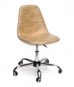 Стул офисный (компьютерный) Lari (Лари) на блине или колесиках, сиденье нубук, основа хром
