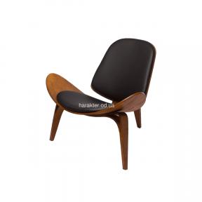 Кресло CH07 Shell Chair орех и черный, сиденье черная экокожа са