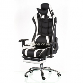 Кресло геймерское, компьютерное ExtremeRace black/white with footrest (E4947) тсп