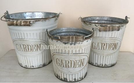 Кашпо, Відро Garden біле набір 3 шт метал 716-11042