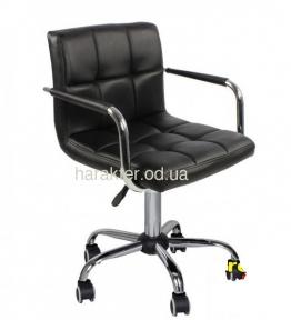 Кресло офисное Артур на колесах или на блине, компьютерное, экокожа, цвет черный, белый