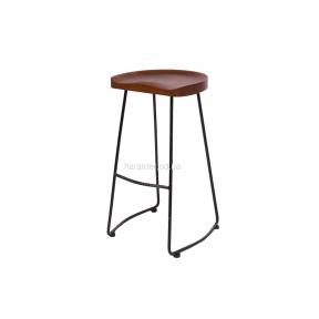 Табурет, стул барный Tractor bar, сиденье дерево орех, ножки арматура черный или ножки дерево