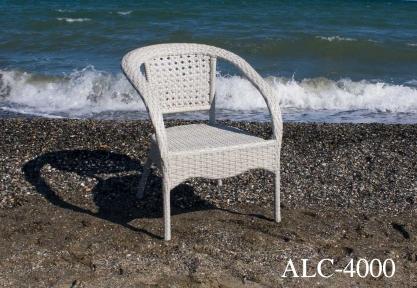 Стул алюминиевый сплав., пласт. ротанг, цвет молочный ALC - 4000 ом