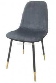 Стул Велюр, мягкий, ножки металл, ткань серая, синяя