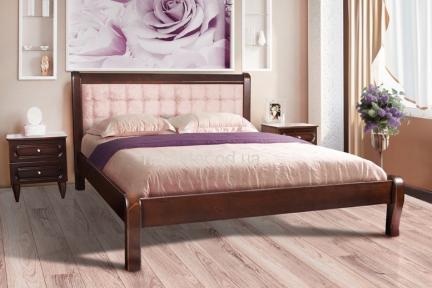 Кровать двуспальная деревянная с мягкой спинкой Соната Элегант Ліжко ММ 160*200