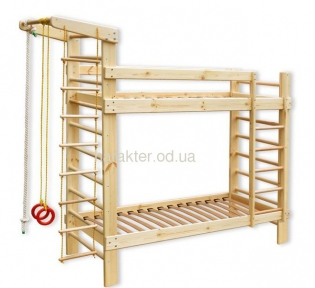Двухъярусная спортивная кровать БГ с спортивным уголком
