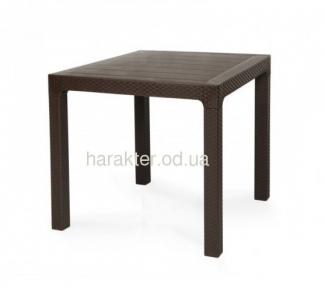 Стол Лагуна, пластиковый, имитация ротанг, коричневый, 80*80 см