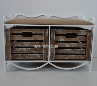 Диван кованый на 2 (4) ящика горизонтальный, мягкий верх