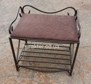 Кованый диванчик-пуфик без ящика мягкий верх ES-11