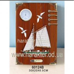 Ключница настенная, деревянная с термометром Морская 60124В