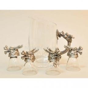Набор Графин водочный + 4 рюмки Дракон, рюмки в виде животных кс103374