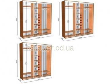 Шкаф купе длиной 2,2/2,3/2,4м глубиной 0,6 или 0,45м высотой 2,1м