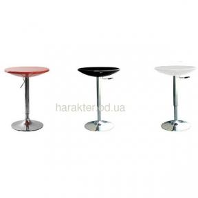 Стол барный высокий Амира диаметр 60 см, белый, черный пластик, основа хром