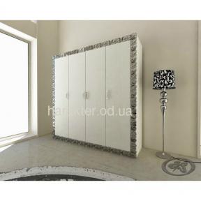 шкаф 4х дверный Анжелика белый серебро