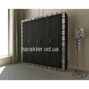 шкаф 4-х дверный в раме Анжелика чёрный серебро