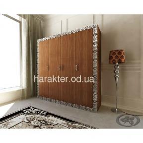 шкаф 4-х дверный в раме Анжелика коричневый серебро