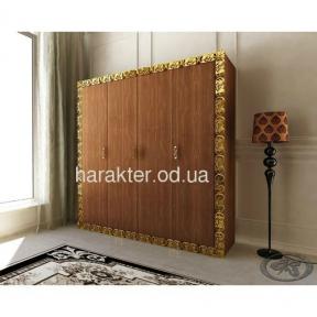 шкаф 4-х дверный Анжелика в раме коричневый золото