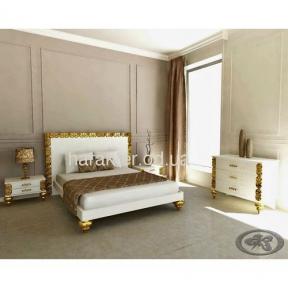 кровать двуспальная Анжелика в раме белая золото 160*200, 180*200