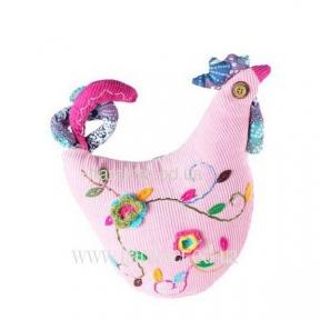 Петушок, курочка игрушка из ткани (вельвет)
