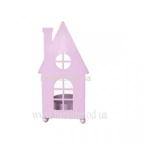 Подсвечник домик (металл) 6.5*6*13.2см розовый, салатовый