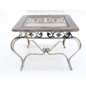 Стол прямоугольный закругленный столешница МДФ+стекло кованый, журнальный