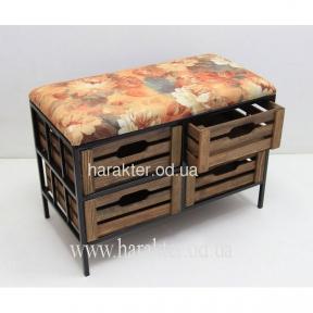 Диван-скамейка полка №4 на 4 ящика в стиле Прованс, Кантри