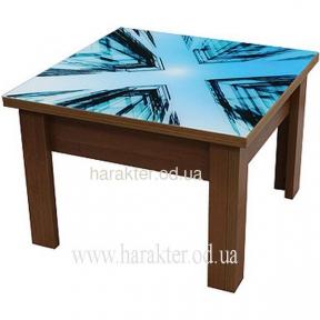 стол трансформер 2 в 1 столешница прозрачное стекло с рисунком УФ печать, корпус дсп