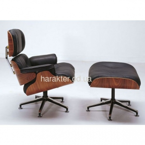 Кресло Relax с оттоманкой черный, Кресло Релакс с оттоманкой, натуральная кожа, гнутая фанера