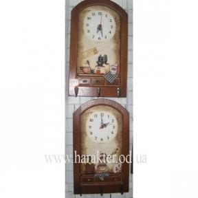 часы для кухни с вешалкой для полотенец или декора