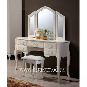 Будуарный стол с зеркалом и пуфом Богемия античный белый