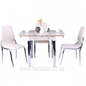 Стол Челси B179-66 750(1200)*700*760 База ваниль, Стекло ваниль