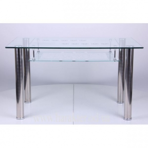 Стол B161-4 база-нерж.сталь / стекло-прозрачное с узором