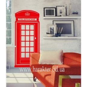 Декоративная Наклейка на Стену Telephone, Английская телефонная будка виниловый стикер