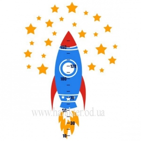 Ростомер Виниловый Rocket, Ракета, стикер для стен детский