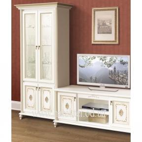 витрина 2-х дверная, полки для посуды цвет белый в стиле Прованс с росписью (имитация)