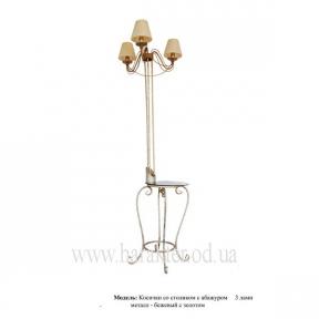Торшер Косички кованый напольный с абажурами на 3 лампы в комплекте со столиком