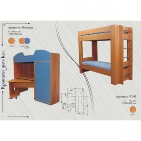 Кровать-рабочее место и шкаф Мишка