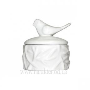 Шкатулка керамическая 1005-12 скринька біла з пташками